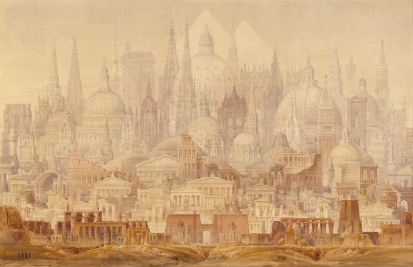 Cockerell, C.R.; A synopsis of the principal architectural monuments of ancient and modern times, drawn to the same scale ...; The Famous Buildings of the World; The Professor's Dream